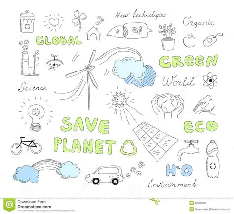 doodle free alternative ecology doodles vector elements set stock photos image