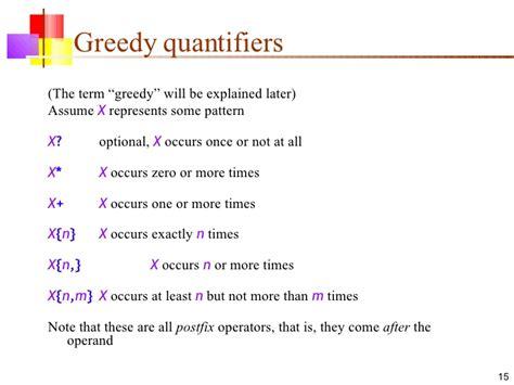 java pattern greedy quantifiers 16 java regex