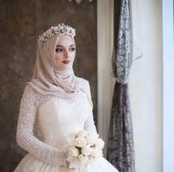 Bridal Hijab with Flowery Head Crown Ideas for Muslim