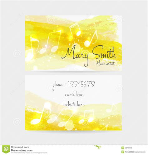 front and back note card template business card template stock vector image 54709695