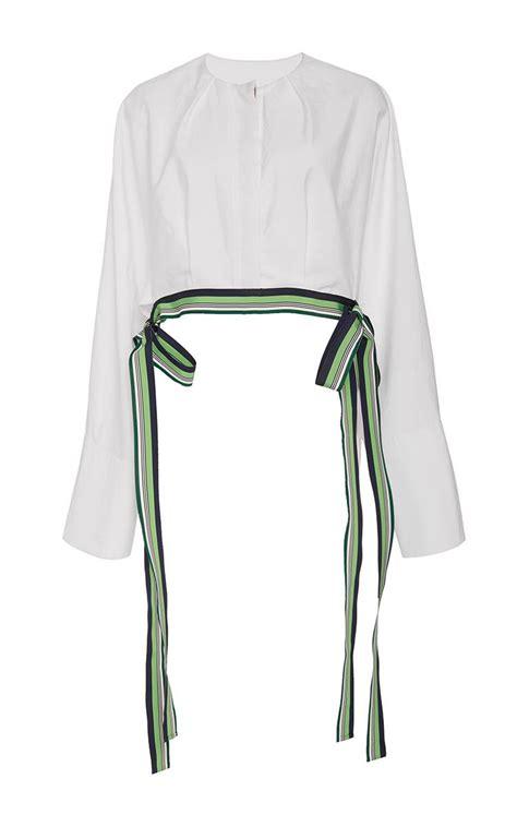 lyst diane furstenberg cropped ribbon trim blouse in