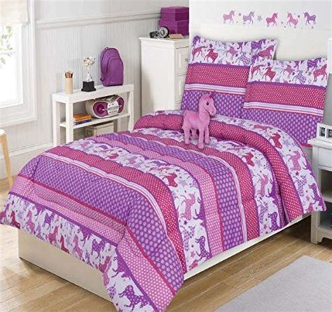 unicorn bedding twin 4 piece kids cute unicorn comforter twin girls adorable little pony bedding for