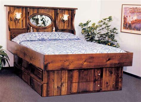 king crestwood wood frame waterbed   drawer pedestal