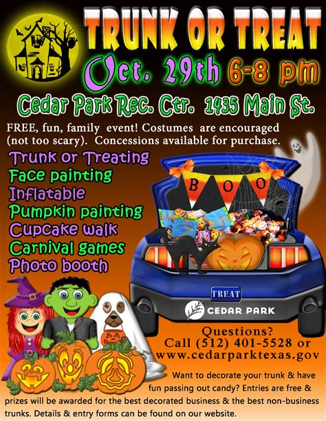 trunk or treat flyer template trunk or treat hill country trail region