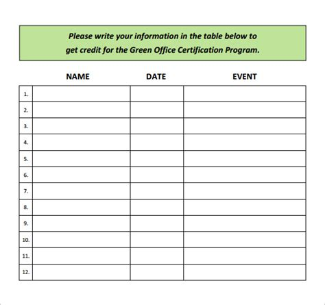 event sign in sheet template sle event sign in sheet 12 documents in pdf word