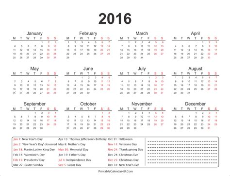 printable calendar 2016 entire year 2016 yearly calendar with holidays and notes