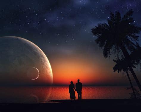 wallpaper lovers dream couple stars moon love
