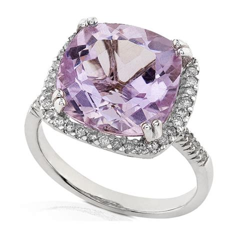 and lavender amethyst ring set in 14k white gold