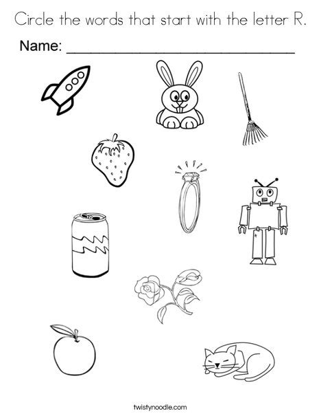 r coloring pages preschool circle the words that start with the letter r coloring