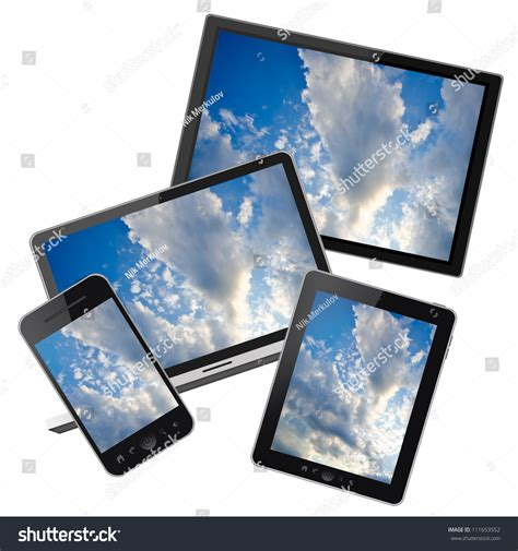 Image Search For Phones And Tablets Notebook Mobile Phone Tablet Pc And Hd Tv Isolated On White Background Stock Photo