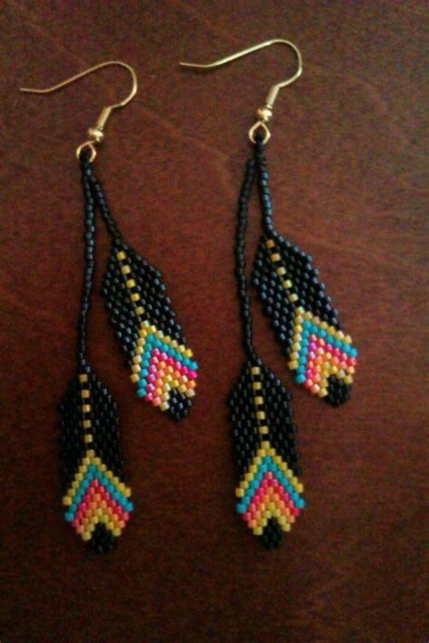 beadwork etsy beaded feather earrings beadwork via etsy beadwork by