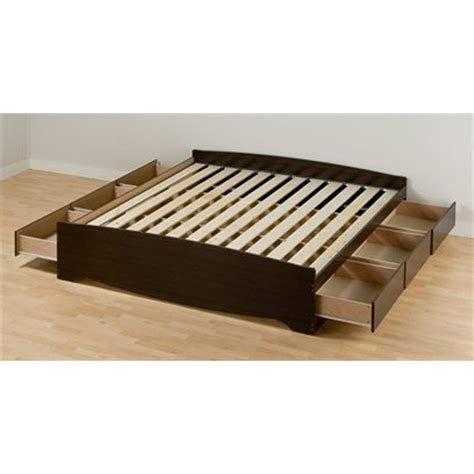 Platform Storage Bed King Shop Prepac Furniture Mate S Espresso King Platform Bed With Storage At Lowes