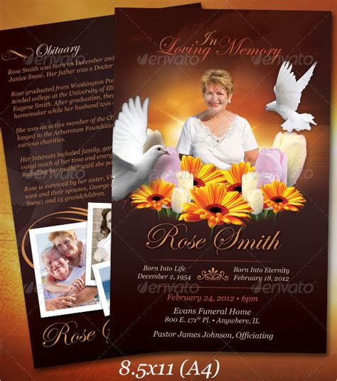 funeral card template psd funeral obituary template free premium