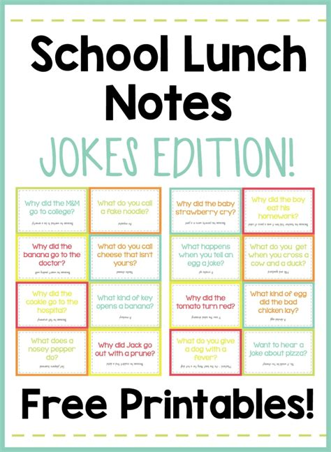 printable kid jokes funny school lunch notes jokes edition free printables