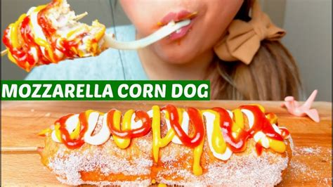 big bites asmr fried mozzarella corn dog messy