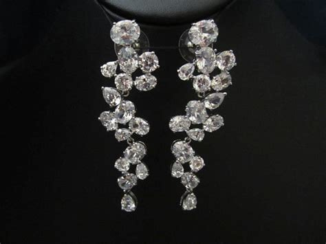 unique sparkly chandelier dangley bridal earrings by terihuang
