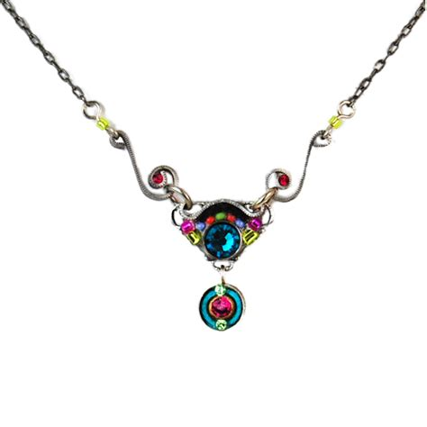 multi color delicate mosaic necklace 8536 firefly