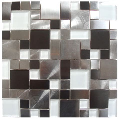 stainless steel tile mosaic tile modern cobble stainless steel with white glass tile emt w1144 mix cb