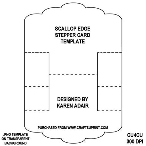 centre stepper card template a4 scallop edge stepper card template cup321940 168