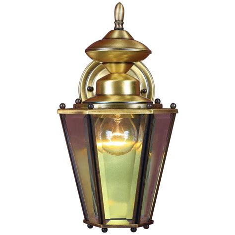 Antique Brass Outdoor Lighting Volume Lighting 1 Light Antique Solid Brass Outdoor Wall Mount V9151 7 The Home Depot