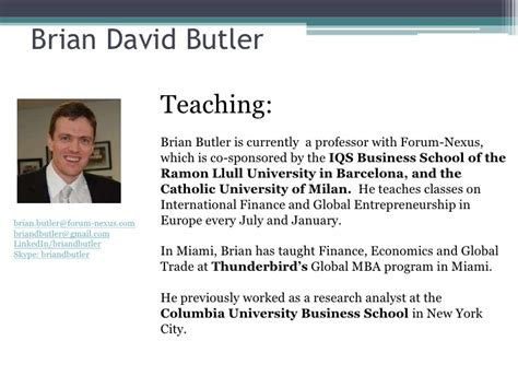 Butler Mba Curriculum by Part 3 Global Entrepreneurship Class