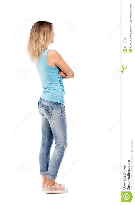 ladies back side images back view of standing young beautiful woman stock photo
