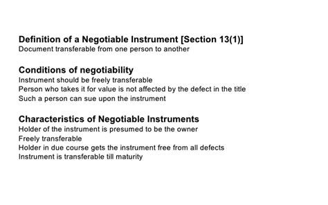 section 1 negotiable instruments law negotiable instrument act