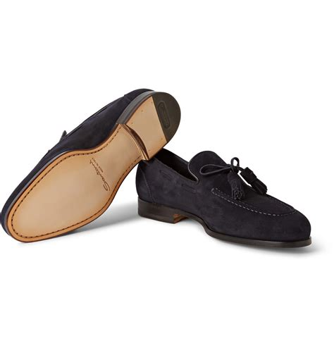 blue suede tassel loafer santoni aliseo suede tassel loafers in blue for lyst