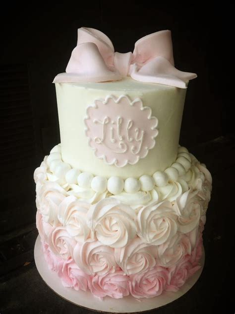 Pretty Baby Shower Cakes by Pink To White Ombr 233 Rosette Baby Shower Cake Lilly
