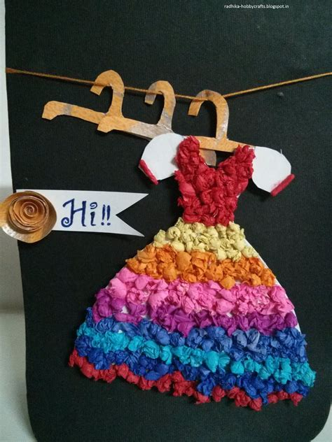 Paper Dress Craft - hobby crafts coloured tissue paper dress