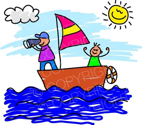 boat trip cartoon happy cartoon sail boat kid toddler art prawny clip art