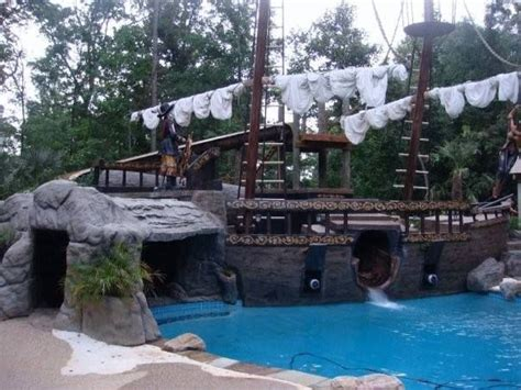 pirate ship pool done by southern magnolia landscaping in