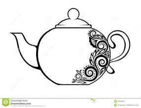 colouring and painting teiera decorata con la f in bianco e nero