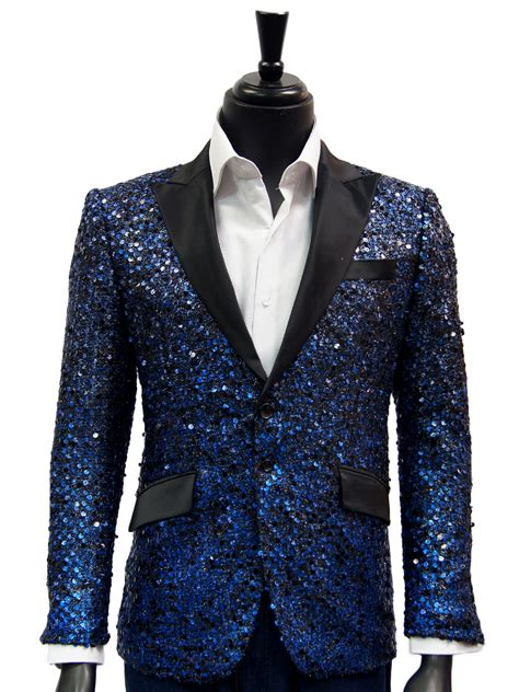 Blue Black Blazer angelino blue black sequin satin lapel trendy dress casual blazer ultimate menswear