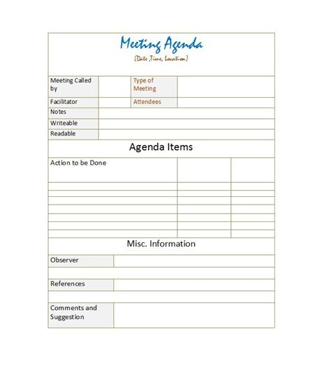 effective agenda template 46 effective meeting agenda templates template lab