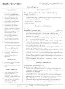 professional resume sles for engineers optical engineer resume exle sle engineer resumes