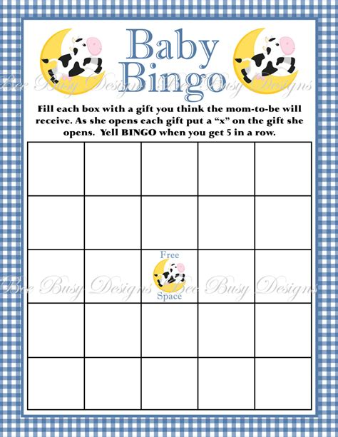 Baby Shower Bingo Printable by Printable Blue Cow Jumping The Moon Nursery Rhyme Baby Shower Bingo Bee Busy Designs