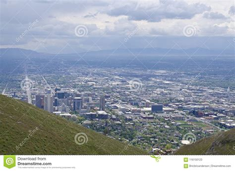 downtown salt lake city hillside landscape stock image