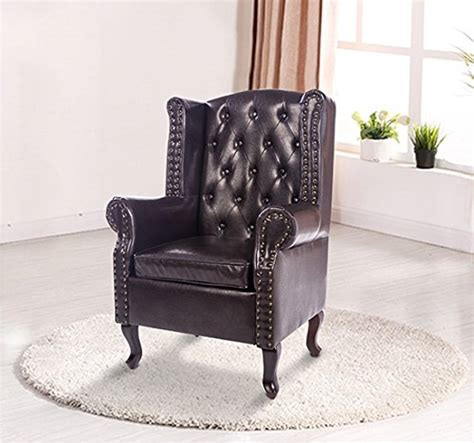 homcom antique high  chair pu leather seat chesterfield type armchair queen anne fireside