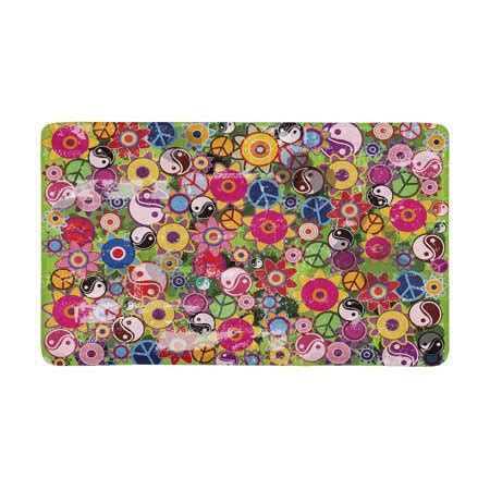 Peace Sign Doormat by Mkhert Colorful S Flowers With Peace Sign And Yinyang