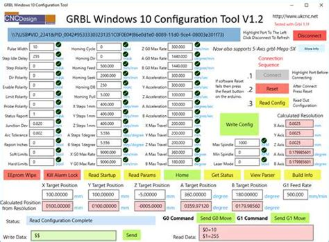 grbl windows  configuration tool pc