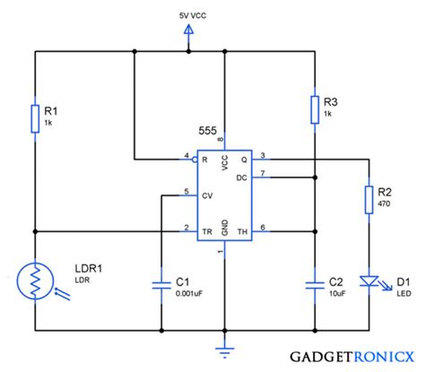 light dependent resistor project using 555 gt other circuits gt 555 lm555 ne555 timer circuits gt light activated switch circuit l56029 next gr