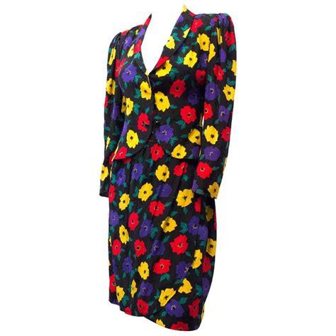 80s floral 80s emanuel ungaro floral silk skirt suit for sale at 1stdibs