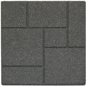 envirotile cobblestone 18 in x 18 in gray black rubber