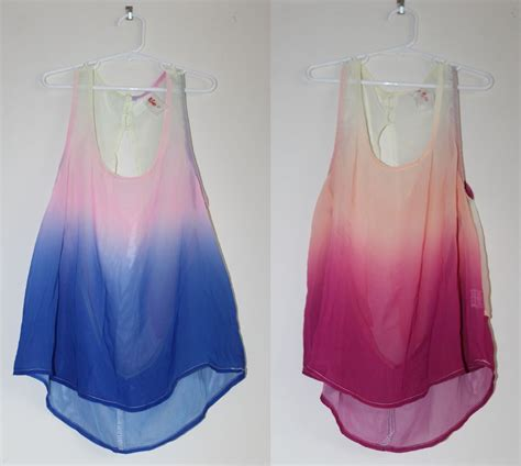45095 Stripe Ring S M L Blouse chiffon gradient ombre open back tank top s m l pink blue ebay