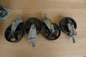 Chair Casters Threaded Stem Antique Caster Wheels 5 Inch Cast Iron By Vintageindustrial