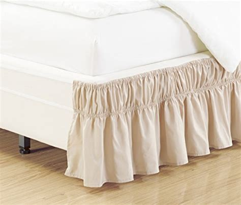 easy fit bed skirt easy fit wrap around ivory beige ruffled elastic solid