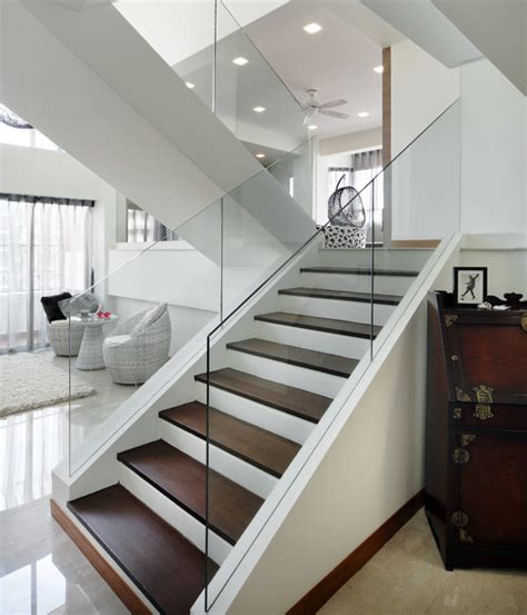 Glass Stairs Design Pandan Valley Condo Modern Staircase Other Metro By The Interior Place S Pte Ltd