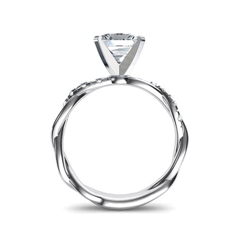 twist princess cut engagement ring in 14k white gold