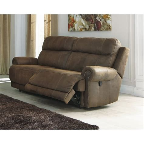 ashley faux leather sofa ashley austere 2 seat faux leather reclining sofa in brown